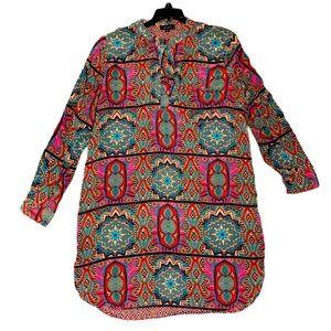 TOLANI Multi Color Print Long Silk Tunic Dress